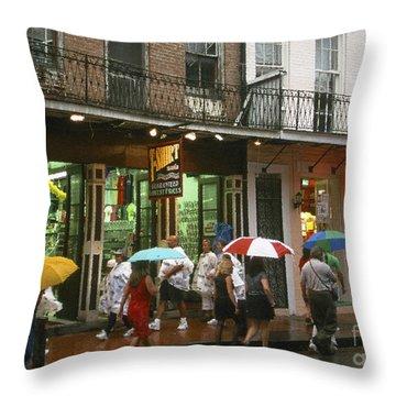 Rainy Evening On Bourbon Street  Throw Pillow by Thomas R Fletcher