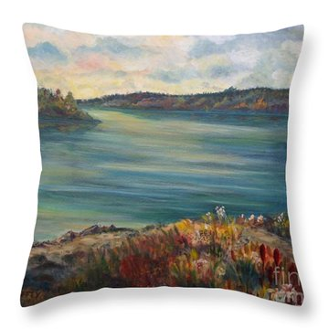 Throw Pillow featuring the painting Rainy Lake Michigan by Julie Brugh Riffey