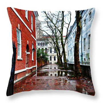 Rainy Philadelphia Alley Throw Pillow by Bill Cannon