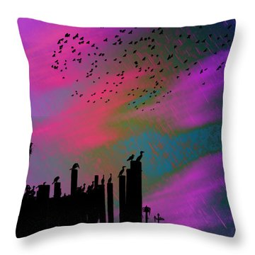 Rainy Rainy Night Throw Pillow