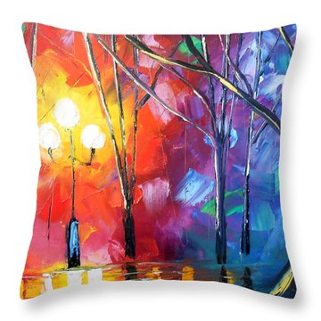 Rainy Rendezvous Throw Pillow by Jessilyn Park