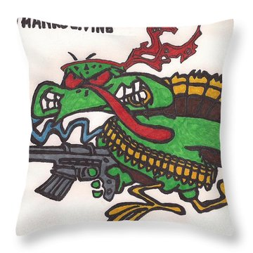 Throw Pillow featuring the drawing Rambo Turkey by Jeremiah Colley