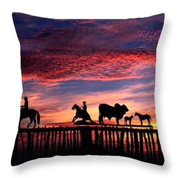 Texas Ranch Gate At Sunrise Throw Pillow