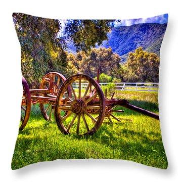 Rancho Oso Wagon Throw Pillow by Bob and Nadine Johnston