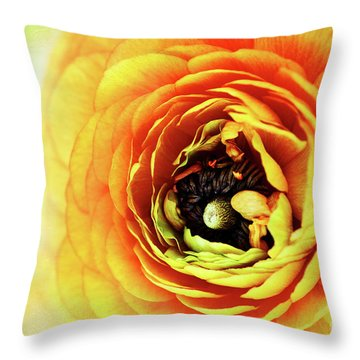 Ranunculus In Orange Throw Pillow by Stephanie Frey