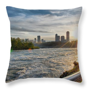 Throw Pillow featuring the photograph Rapids Sunset by Michael Frank Jr