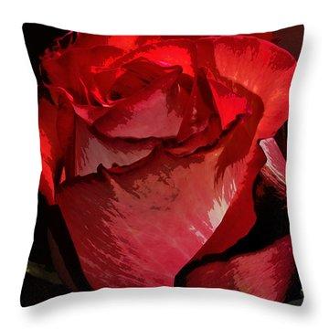 Rare Red Rose Throw Pillow by Phyllis Denton