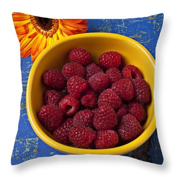 Raspberries In Yellow Bowl Throw Pillow by Garry Gay