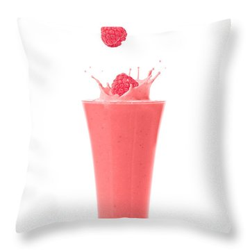 Raspberry And Strawberry Smoothie Throw Pillow by Amanda Elwell