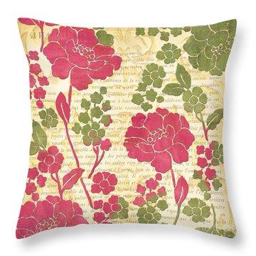 Raspberry Sorbet Floral 1 Throw Pillow