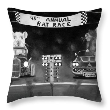 Rat Race Black And Wht Darker Tones Throw Pillow by Leah Saulnier The Painting Maniac