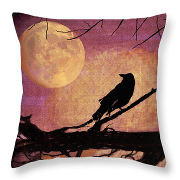 Raven And The October Moon Throw Pillow by Arline Wagner