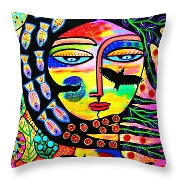 Raven Goddess Throw Pillow