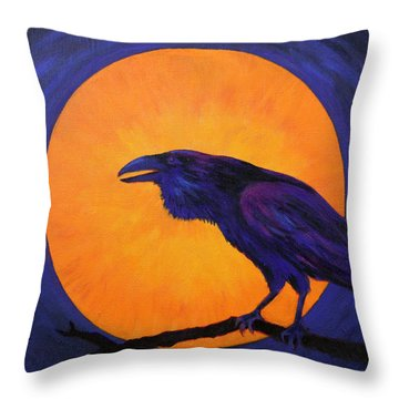 Raven Moon Throw Pillow