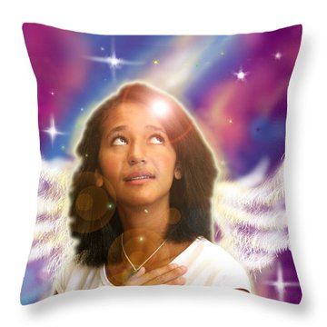 Ravert. Angelic Throw Pillow by Nada Meeks