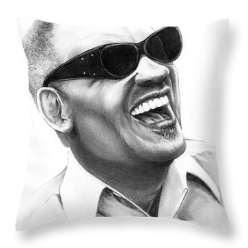 Ray Charles Throw Pillow by Murphy Elliott