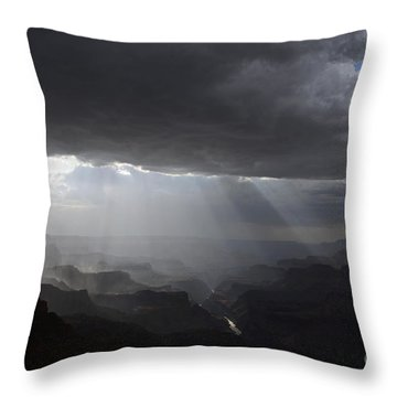 Rays In The Canyon Throw Pillow