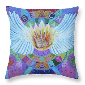 Reach-react Throw Pillow by John Keaton