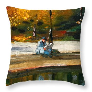 Reading The Paper Throw Pillow by Ylli Haruni
