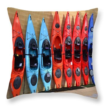 Throw Pillow featuring the photograph Ready Kayaks by Mary Zeman