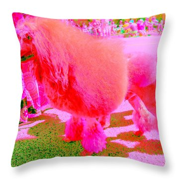 Really Pink Poodle Throw Pillow by Randall Weidner