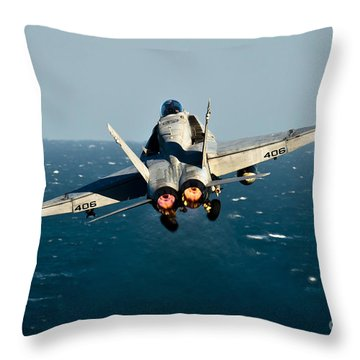Rear View Of An Fa-18c Hornet Taking Throw Pillow by Stocktrek Images