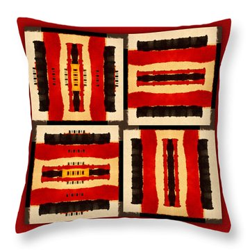 Red And Black Panel Number 5 Throw Pillow