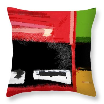 Red And Green Square Throw Pillow by Naxart Studio