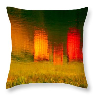 Throw Pillow featuring the photograph Red And Orange Chairs by Les Palenik