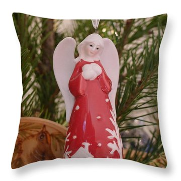 Throw Pillow featuring the photograph Red Angel by Richard Reeve