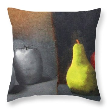 Red Apple Pears And Pepper In Color And Monochrome Black White Oil Food Kitchen Restaurant Chef Art Throw Pillow