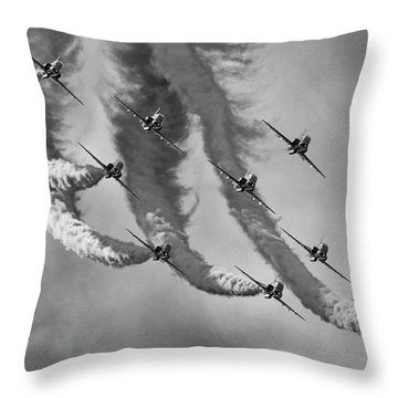 Red Arrows Black And White Throw Pillow by Ken Brannen