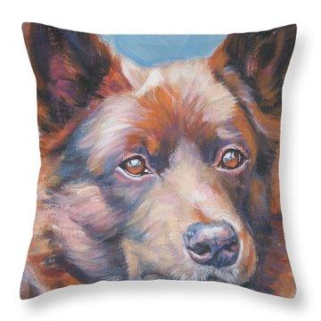 red Australian Kelpie Throw Pillow by Lee Ann Shepard