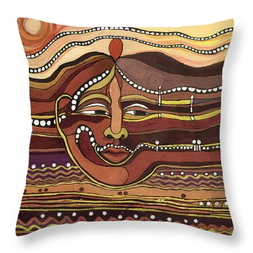 Red Aztec Face In Nature Landscape Abstract Fantasy With Earth Colors Sunset And Skyline Throw Pillow