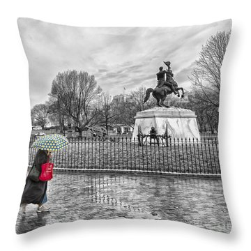 Throw Pillow featuring the photograph Red Bag Lafayette Park by Jim Moore