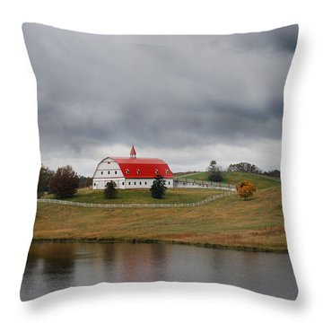 Red Barn Throw Pillow by Maggy Marsh