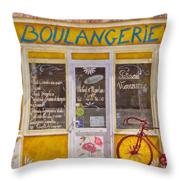 Red Bike At The Boulangerie Throw Pillow by Debra and Dave Vanderlaan