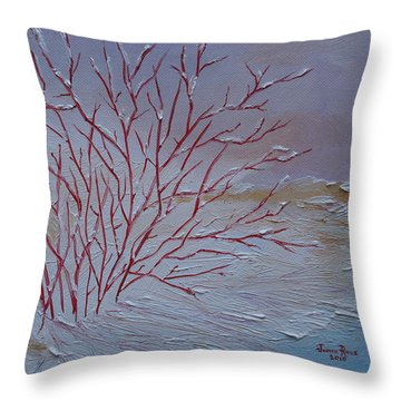 Throw Pillow featuring the painting Red Branches by Judith Rhue