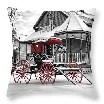 Throw Pillow featuring the photograph Red Buggy At Olmsted Falls - 2 by Mark Madere