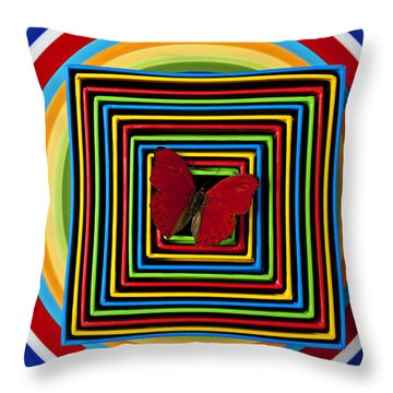 Red Butterfly In Nested Boxes  Throw Pillow by Garry Gay