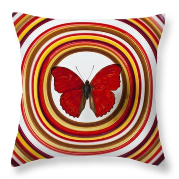 Red Butterfly On Plate With Many Circles Throw Pillow by Garry Gay