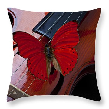 Red Butterfly On Violin Throw Pillow by Garry Gay