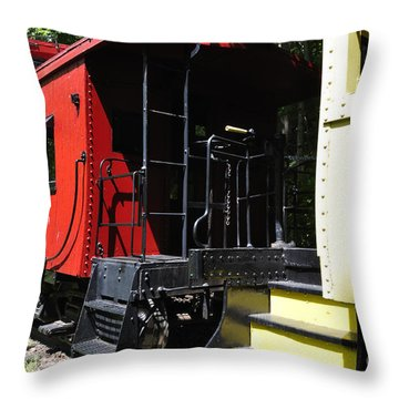 Red Caboose Throw Pillow by Thomas R Fletcher