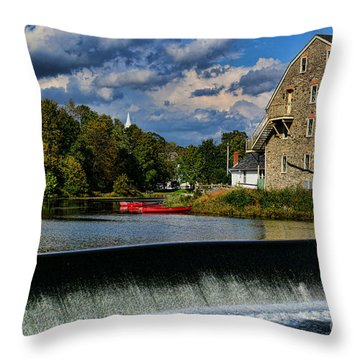 Red Canoes At The Boathouse Throw Pillow by Paul Ward