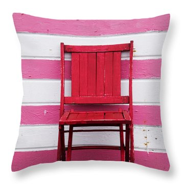 Red Chair And Pink Strips Throw Pillow by Garry Gay