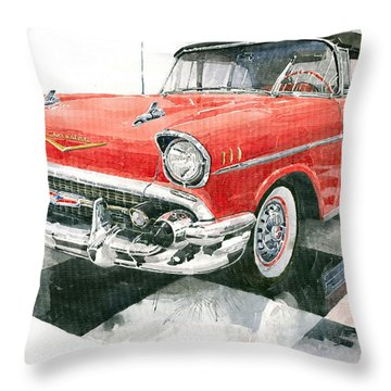 Red Chevrolet 1957 Throw Pillow