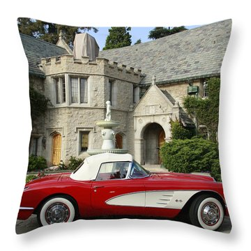 Red Corvette Outside The Playboy Mansion Throw Pillow by Nina Prommer