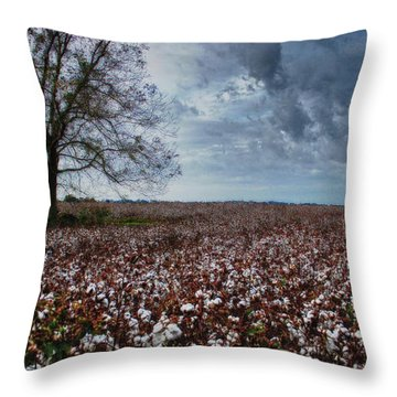 Red Cotton And The Tree Throw Pillow