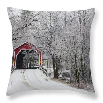 Red Covered Bridge In The Winter Throw Pillow by David Chapman