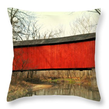 Red Covered Bridge Throw Pillow by Marty Koch